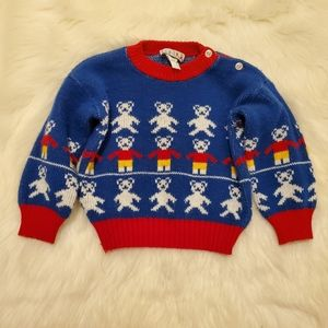 Vintage 90's Blue Red Bear Print Pullover Sweater